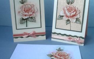 Поздравительная открытка с объемным цветком из обоев своими руками