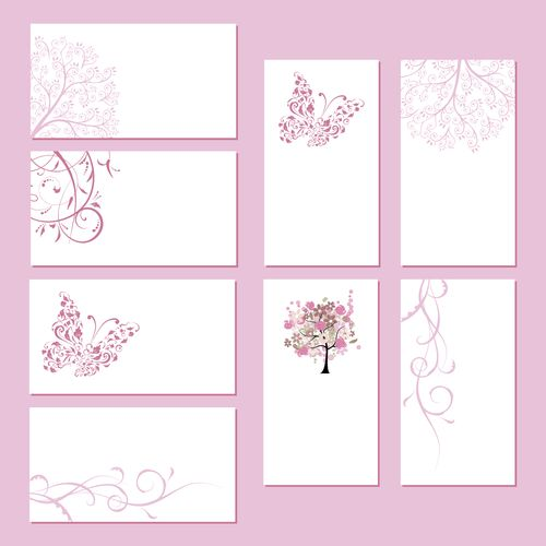 Розовый шаблон визитки с природой