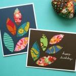 Поздравительная открытка с разноцветными листочками своими руками