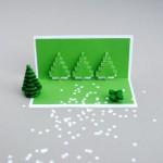 Открытка на Новый год своими руками с зеленой елочкой