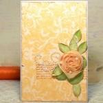 Розовый цветок из ткани для открытки своими руками