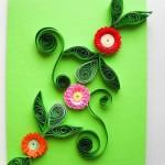 Цветы для украшения открытки с зелеными листочками своими руками