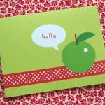 Шаблон для печати открытки с яблоком и красной ленточкой
