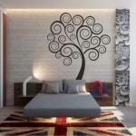 Оформление стен цветочными наклейками