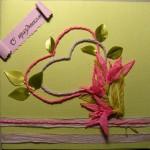 Открытка с цветами из бечевки своими руками