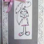 Поздравительная открытка с девочкой и бантиком своими руками