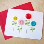 Открытка с цветочками из пуговок своими руками + готовый шаблон для печати