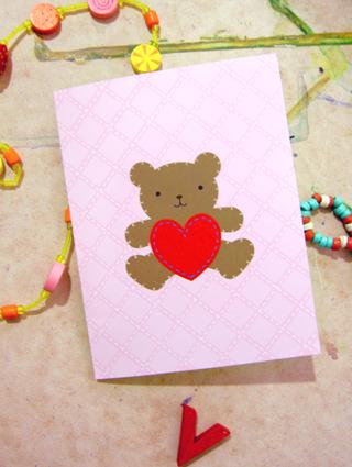 Открытка с медвежонком своими руками + шаблон для печати