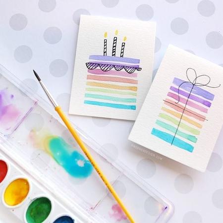 открытка оформленная красками