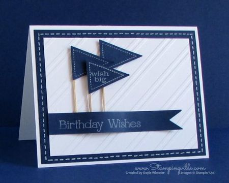 открытка с синими флажками
