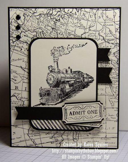 открытка с изображением паровоза