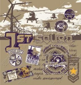 Принт для футболки в военном стиле — 1st squad
