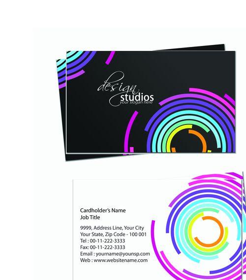 Шаблон визитки с разноцветными кругами
