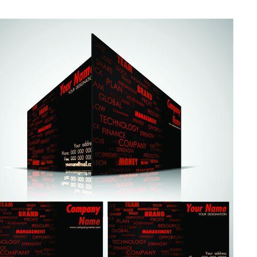 Шаблон двухсторонней визитки с черным фоном