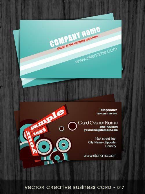 Образцы визиток с голубым и коричневым фоном