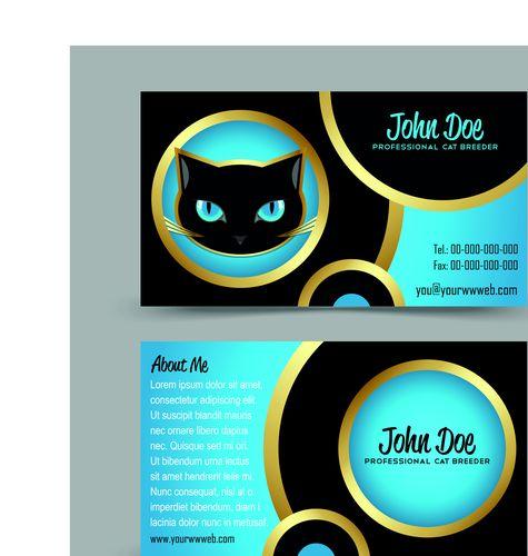 Образец визитки с кошкой