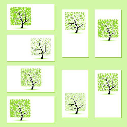 Набор шаблонов визиток со стриженным деревом