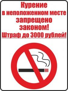 Табличка «Курение в неположенном месте запрещено законом»
