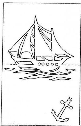 шаблон открытки к 23 февраля с корабликом