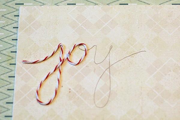 Надпись из ниток на альбом или открытку