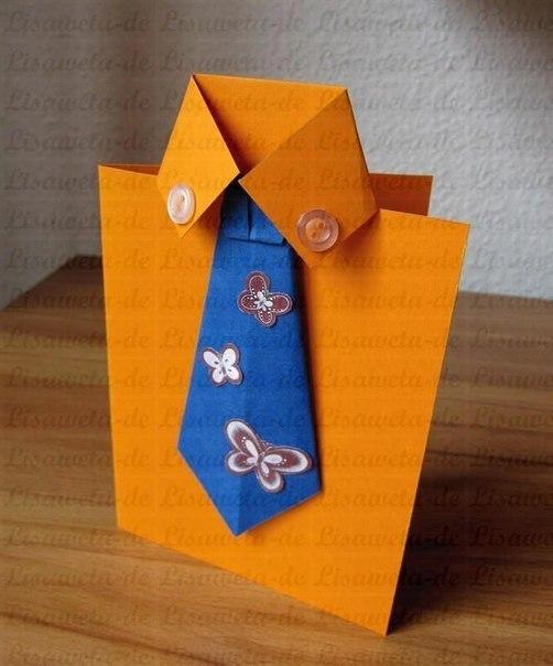 Поздравительная открытка своими руками в форме рубашки