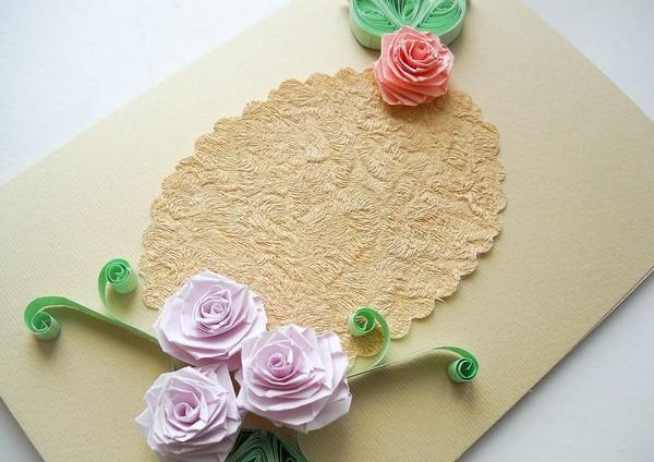 Поздравительная открытка с цветами своими руками
