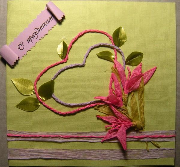 Открытка с цветами из бечевки
