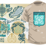 Шаблон принта «Эмблема» с различными изображениями