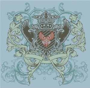 """Образец принта """"Крылатый щит с короной"""" на голубом фоне"""