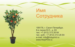 Макет визитки Садоводство