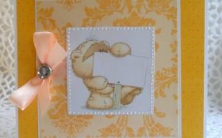Поздравительная открытка своими руками с медвежонком