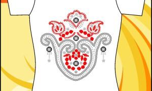 Шаблон принта с красно-серыми узорами в eps