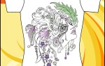 Макет принта на футболку «Девушка в маске»
