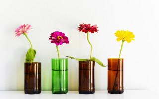 Декоративные вазы из обычных стеклянных бутылок своими руками