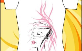 Шаблон принта «Девушка с закрытыми глазами»