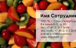 Макет визитки Фрукты и ягоды