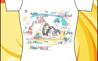 Шаблон принта «Девушки на пляже»