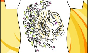 Шаблон принта на футболку «Девушка в цветах»