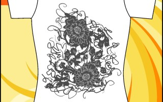 Шаблон принта «Черные цветы»