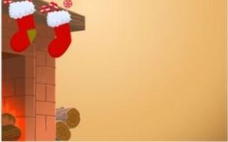 Простой шаблон открытки С Новым Годом с елкой и камином