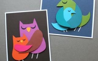 Поздравительная открытка с птичкой своими руками с шаблонами для печати