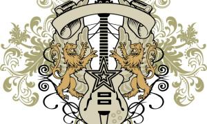 Бесплатный шаблон принта «Гитара со львами»