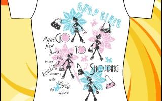 Макет принта на футболку «Shop girls»