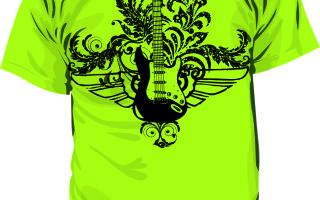 Шаблон принта гитара с орнаментом в eps