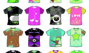 Набор красочных принтов на футболки в ai