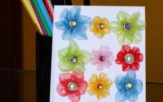 Цветочек из ленточек по шаблону своими руками