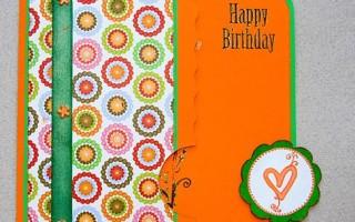 Оранжевая открытка с цветочками и кружочками с днем рождения своими руками