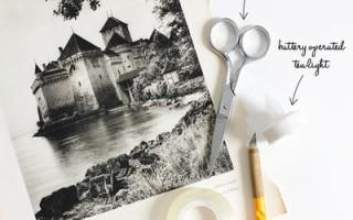 Как сделать подсвечник из бумаги «Маленький ночной город» своими руками