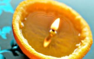 Как сделать свечу из кожуры апельсина своими руками