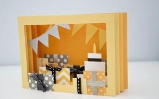Объемная поздравительная открытка с подарками и цветами своими руками
